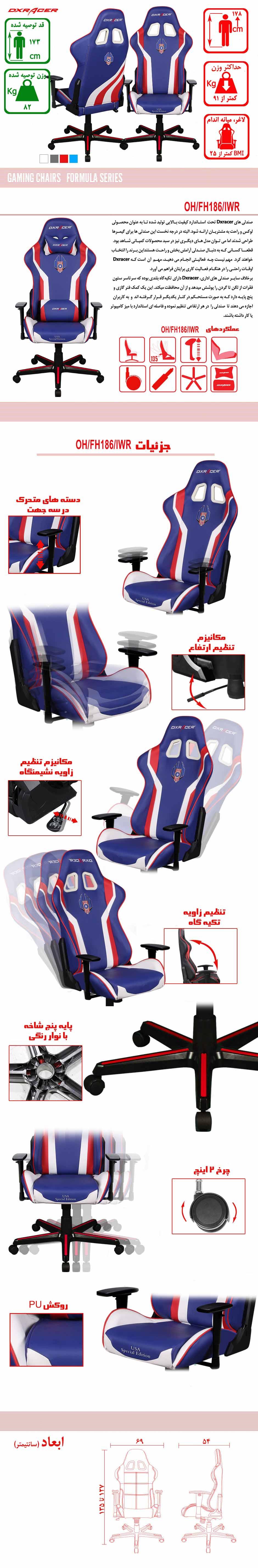 خرید-صندلی-گیمینگ-سری-فرمولا-DxRacer-Formula-Series-OHFH186IWR