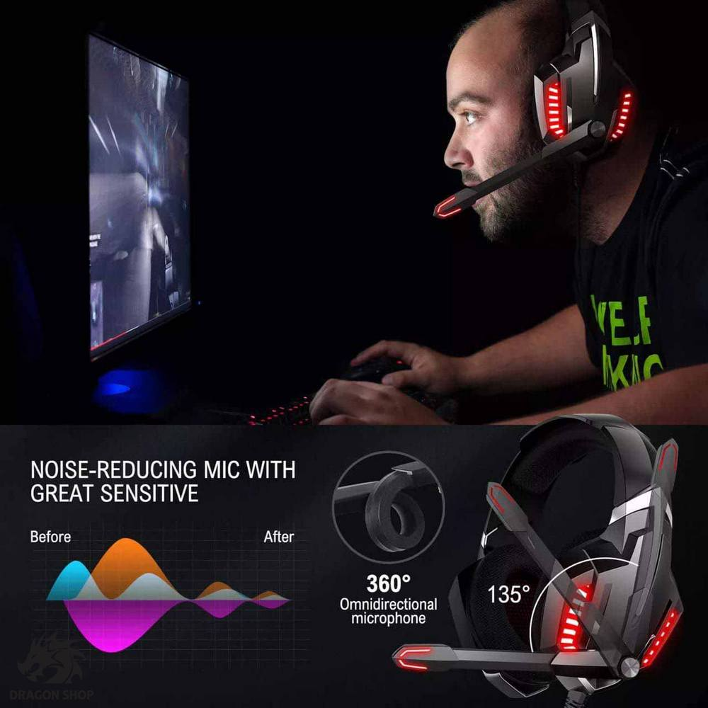 هدست مخصوص بازی اونیکوما Headset Gaming ONIKUMA k18 RED